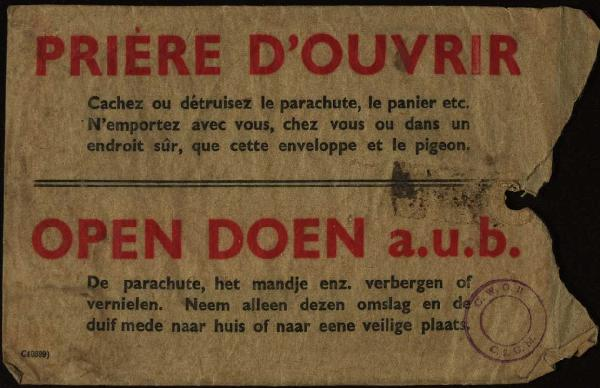 Allied leaflet airdropped over Belgium in 1944 (Collection of leaflets and official documents [AC 9/6]: nr. 285739), © CegeSoma/State Archives.